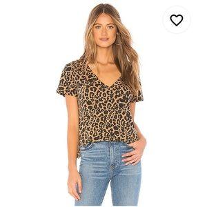 LNA leopard print v-neck